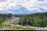 , Glennallen, AK, Wrangell Mountains seen from Glenallen, close to Glenn/Richardson Junction. For more Alaska highway scenery: www.alaska-editions.com