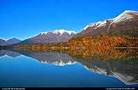 Photo by RhondaRogalski | Moose Pass  alaska, moose pass, reflection, lake, water, mountain, fall, tree, snow,