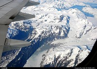The formation of glaciers in Alaska's Chugach Mountains. Shot made on a flight from Seattle to Anchorage. For mora Alaska impressions: www.alaska-editions.com