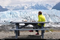 Matanuska Glacier is for us a favorite picnic spot after an intensve glacier hike. The Matanuska Glacier (Alaska) heads in the Chugach Mountains and trends northwest 27 miles. The glacier's average width is 2 miles and here at its terminus it is 4 miles wide. The glacier has remained fairly stable the past 400 years. For more Alaska impressions: www.alaska-editions.com