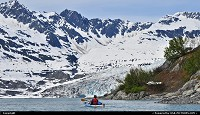 , Not in a City, AK, Alaska has the country's longest coastline and paddling a kayak is a great way to get in touch with stunning landscape and a delicate eco-systems that thrive along Alaska's shores. Shot made in Shoup Bay, near Valdez. The Shoup Glacier is a 17 miles long tidewater glacier and named for one of the the first US marshals asigned to Alaska. The glacier terminus is about 2 miles from the north of the bay. For the complete reports of our Alaska kayak adventures: www.alaska-editions.com