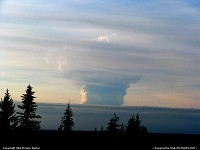 Alaska, Photograph courtesy of Dennis Anderson. Picture Date: March 27, 2009 19:57:00 Image Creator: Anderson, Dennis Image courtesy of Dennis Anderson, http://www.auroradude.com . Photograph of Redoubt's March 27, 19:25 eruption cloud, as seen from near Homer.