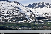 The Alyeska Oil Terminal in Valdez. This is the end station of the 800 miles oil pipline from Prudhoe Bay in Northern Alaska. From this terminal oil tankers carry Alaska crude oil to American refineries.