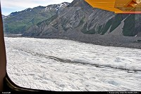 In a spectacular low pass our bush pilot flew over Gates Glacier in Wrangell-St. Elias National Park, the largest National Park in the US. With 20,000-sq miles the park is six times the size of Yellowstone. For more Alaska web galeries: www.alaska-editions.com