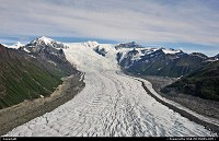 View over Gates Glacier in Wrangell-St. Elias National Park. This is the largest unit of the US National Park System and includes the greatest collection of peaks above 16,000 feet and the largest assemblage of glaciers. For more Alaska webgaleries: www.alaska-editions.com