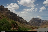 Arizona, Bottom of the Grand Canyon, The colorado rivers allow some threes or bushes to grow here.