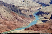 Arizona, Grand Canyon NP. Zooming on the Colorado river from the south rim, from there the river seems to be very quiet and the surrounding colors are just amazing !