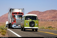 Arizona, Somewhere in Arizona. I wouldn't mind touring the country in an old Combi like this...or in the beautiful truck behind !