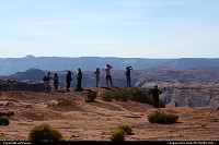 Tourists enjoying the view at Horseshoe Bend.