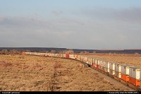A long train crossing the Petrified Forest NP. This train belongs to the BNSF (Burlington Northern and Santa Fe Railway), one of the biggest train company in the United States... This train is heading east, probably to Albuquerque...