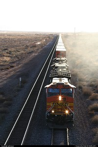 a long, long train on the Santa Fe Railroad, at the the Petrified Forest NP