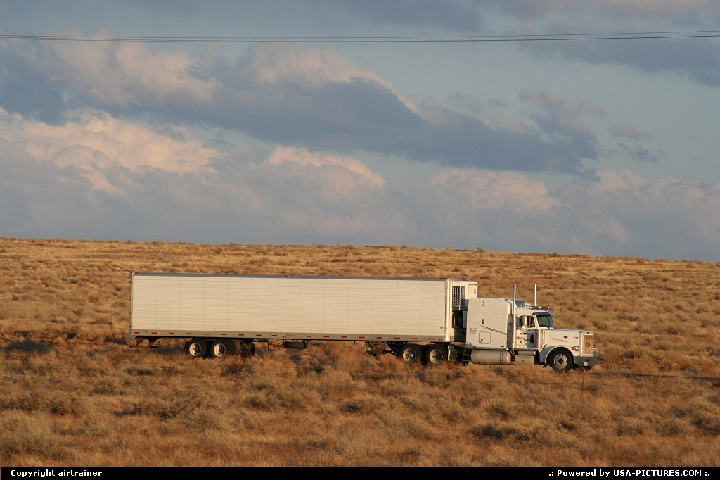 Picture by airtrainer:  Arizona Petrified Forest  truck, interstate