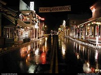 Groveland at the Holidays night scene of Main Street after snowmelt