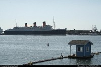 The Queen Mary, some sort of iconic ship, resting as an hotel opposite of Rainbow Harbor at the Marina. Cool!