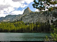 Crystal Crag as seen from Lake George, Mammoth Lakes, California.