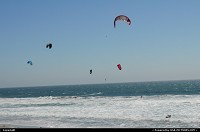 Kiteboarding and windsurfing at Waddell Beach. Between santa cruz and half moon bay in California on route 1.