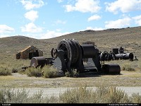 The mining city of Bodie once was the 3rd in California. Dismantled after World War II Here are the remains of extraction machinery