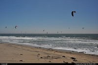 Kite surfers - many of them actually - on Waddell Beach in Big Bassin Redwoods State Park, between Half Moon Bay and Santa Cruise, on historic road 1
