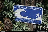 Pacific Grove : Because the pacific coast is an earthquake zone, you can find this caution sign along the sea. This is viewed at pacific grove, closed to Monterey