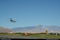 American Airlines MD80 arriving in the desert, at Palm Springs International Airport.