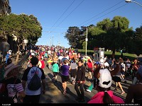 The vibrant and eclectic crowd during Bay to Breakers race. Nice race, amazing place and a lot of San Francisco spirit, not to mention some nudity, as expected !