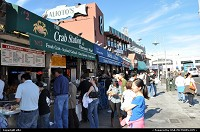 Fishermanwharf on this sunny sunday a lot of people enjoy the place. Restaurants provide fresh fish and shellfish