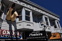 Famous legs poping out the windows above the piedmont boutique in the haight ashbury neighbourhood in San Francisco, between Twin Peaks and Castro.
