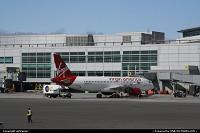 California, Airbus A320 of Virgin Atlantic, N624VA, at the gate at SFO international airport.