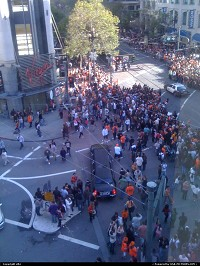 People start to gather along market street to see the parade. Giants back home after they won world series against Texas Rangers.