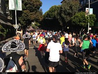 , San Francisco, CA, The crowd ready to challenge the infamous slope on Hayes street, after mile 2, during the 2013 edition of world famous Bay to Breakers race
