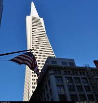 San Francisco : The Transamerica Pyramid is the tallest and most recognizable[citation needed] skyscraper in the San Francisco skyline. Although the building no longer houses the headquarters of the Transamerica Corporation, it is still strongly associated with the company and is depicted in the company's logo. Designed by architect William Pereira, at 260 m (850 ft), upon completion it was among the five tallest buildings in the world.[4]
