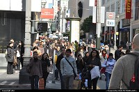crowded street during black friday, san francisco