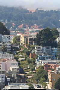 California, Overview of Lombard street, from the Coit Tower.