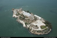 The world famous infamous Alcatraz island (aka The Rock) in the Golden Gate Bay, here from above.