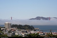 The Golden Gate Bridge, here seen from the Coit Tower.