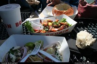 Nice quick and light lunch in Pier 39 (technically Pier 41) Fisherman's Wharf. Halibut Tacos for him, Peal and eat grilled shrimps for her. Bread made bowl for the mandatory Clam Chowder soup.