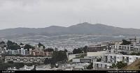 Sud de San Francisco vu depuis Twin Peaks. Ligne de maisons sur la montagne