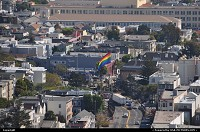 Castro neighbourhood and the massive iconic flag, seen here from Twin Peaks