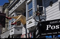 The famous legs poping out the the window above Piedmont boutique in the Haight Ashbury neighbourhood in San Francisco, between Twin Peaks and Castro
