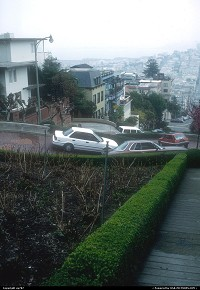 Lombard Street not yet blanketed by the fog