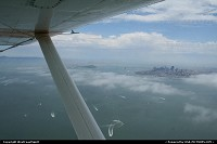 Golden Gate Bay from above with the typical fog around. Such a nice flight with San Francisco Seaplane tours!