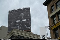 California, Roof top Nike town advertisement on union square, downtown San Francisco