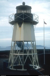 Another view of the small desactivated lighthouse on permanant display by the Golden Gate Bridge's museum located close by the administration offices at the bottom of the South Pillar