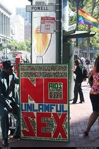 Well, strange contrast in market street San Francisco.