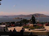 Alcatraz island/prison, seen here from the Coit Tower esplanade.