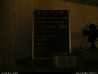 Care for breakfast? As you can see, there is no special today. Typical breakfast menu on display in Alcatraz.