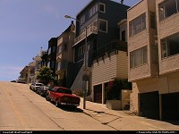 Want to realize how steep could a street be in San Francisco. There it is... Better have an automatic transmission, right?