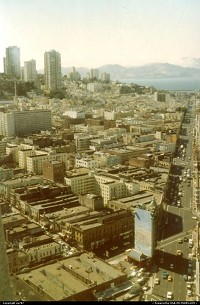 Columbus Avenue, Russian Hill, the Marina and the Bay from Tranamerica Tower's observation deck (now closed).