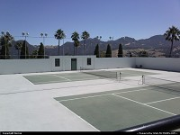 The late William Hearst's private tennis courts