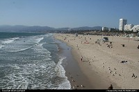 Santa Monica beach from the Pier. This famous is very famous worldwide. Gateway to Los Angeles. California dreamin'